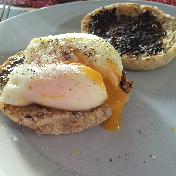 Poached Egg And Vegemite On English Muffin @ Chookys