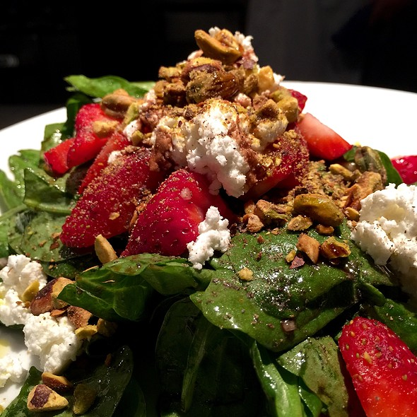Spinach & Fresh Strawberry Salad – Grilled Walla Walla Onions, Chèvre, Toasted Pistachios - Crow, Seattle, WA