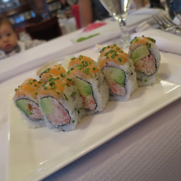 California Roll topped with Salmon Sashima @ P.F. Chang's China Bistro