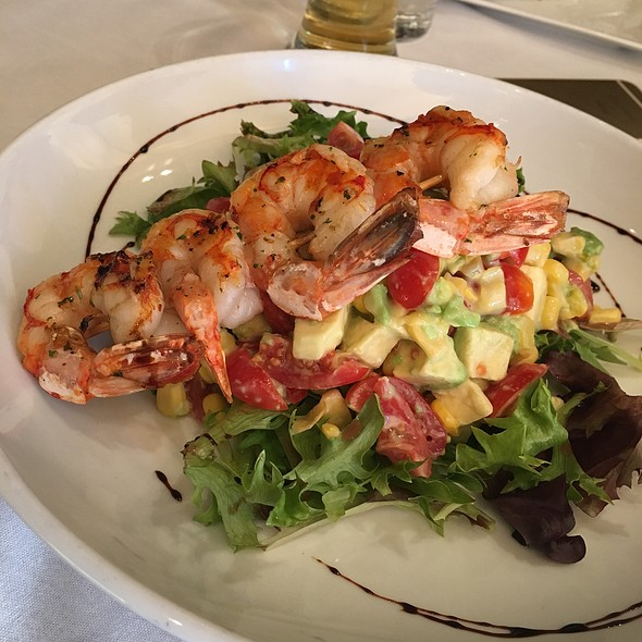 Grilled Prawns over Avocado Salad