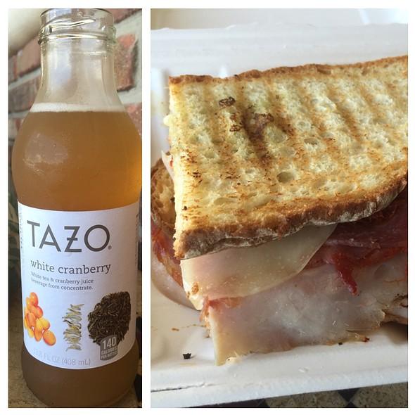 Italian Panini Sandwich Tazo White Cranberry Tea
