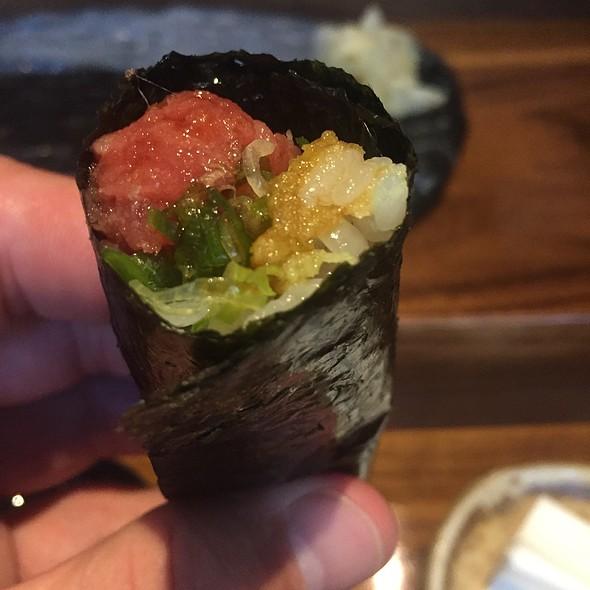 Japanese Toro Tartar Handroll With Pickled Vegetables
