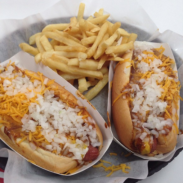 Chili Cheese Dogs With Cheese Fries @ James Coney Island