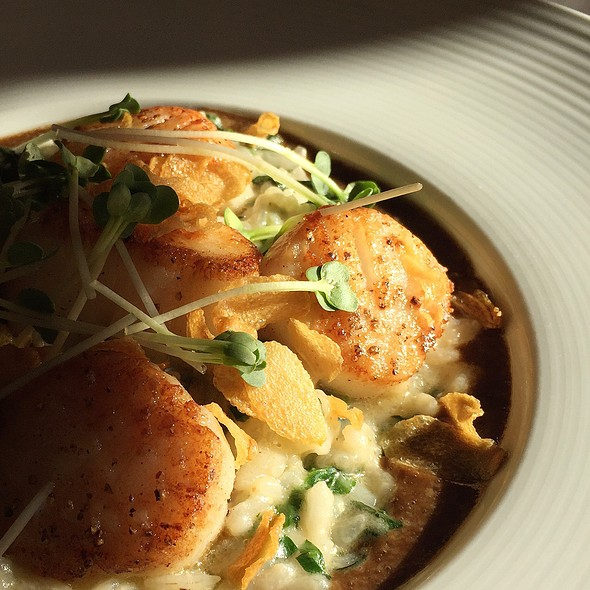 Seared Scallops And Risotto @ Hubbell & Hudson