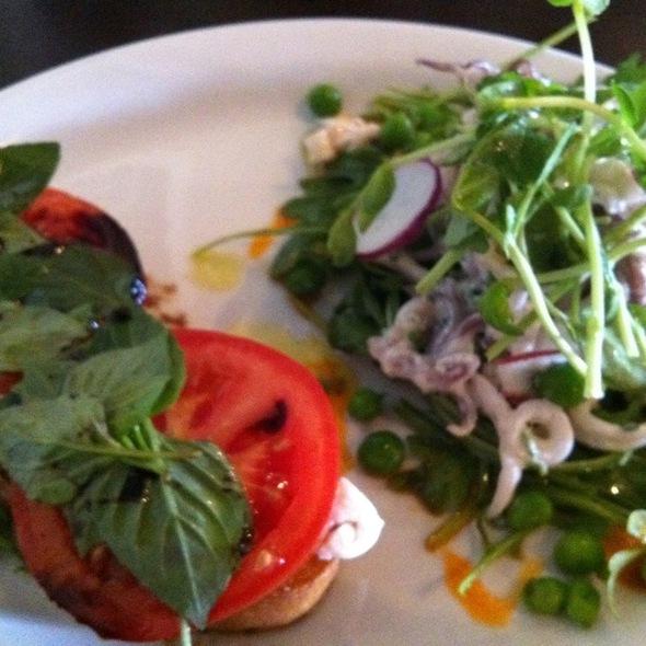 Mozzarella Tomato Basil Sandwich, Calamari Salad. @ Blue Ribbon Artisan Pizzeria