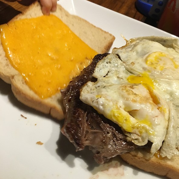 Ribeye, Egg And Aged Cheddar On Sourdough @ Scrambled Southern Diner
