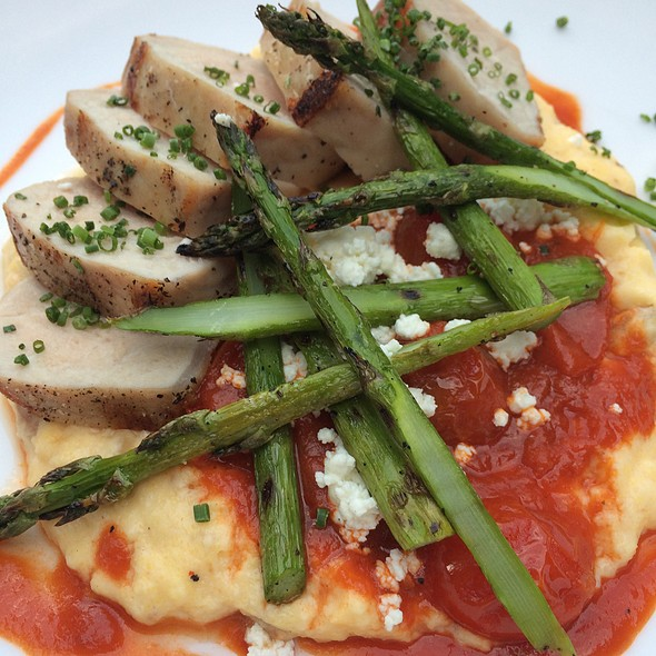 Pork Loin With Grilled Asparagus, Sausage Polenta And Tomato And Onion Ragout - Hops and Vines, Williamstown, MA