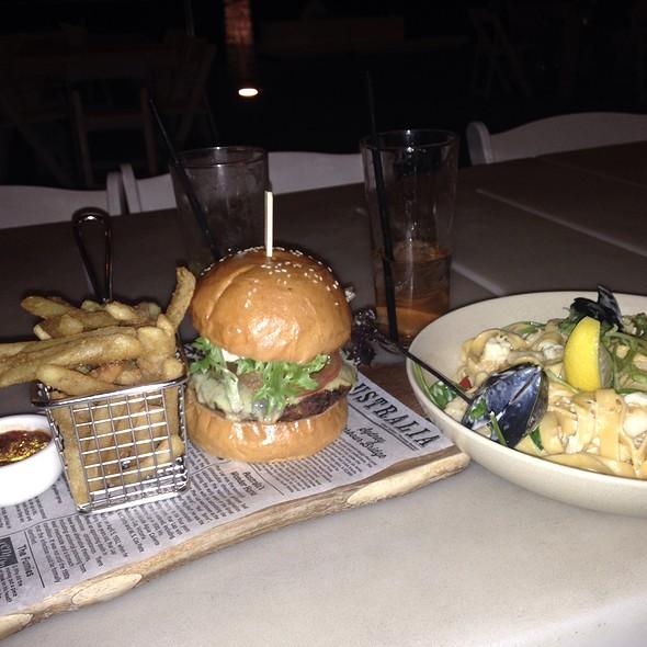 Beef Burger + Seafood Linguine