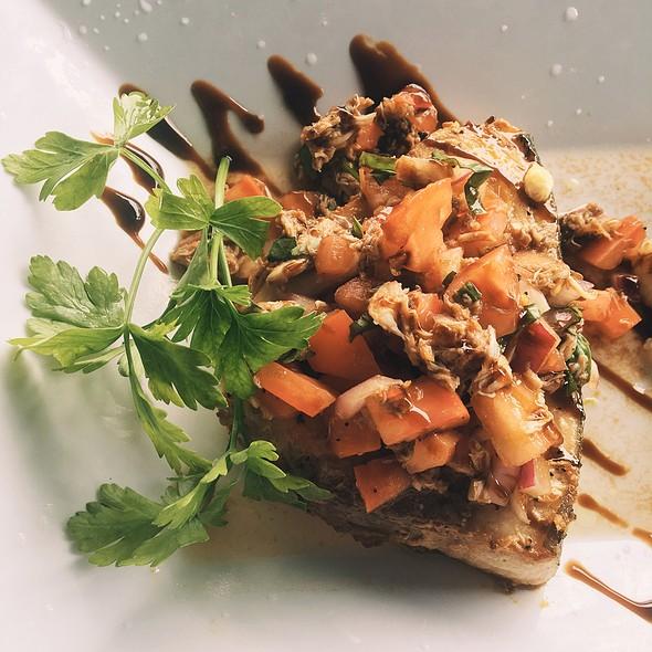 Grilled Swordfish & Summer Melon Salad • Summer Melons • Baby Iceberg • Cranberries • Serrano Chili • Granola • Honey-Wine Yogurt Dressings @ Claudio's Clam Bar