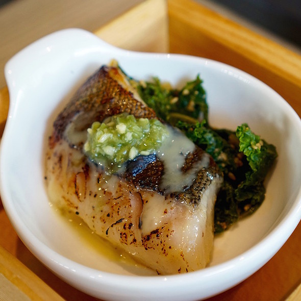 Saikyo miso baked sablefish, pickled wasabi, yuzu miso reduction, kale goma-ae with sweet sesame soy @ Miku