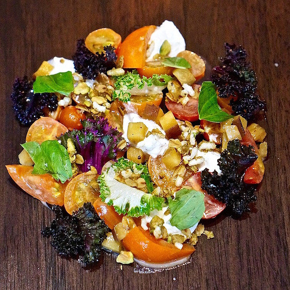 Heirloom tomato salad, peach, burrata white balsamic, pistachio granola - Hawksworth Restaurant, Vancouver, BC