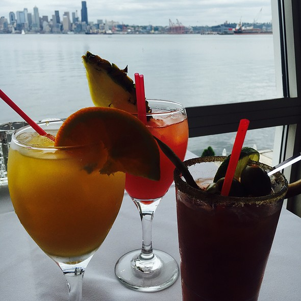 Mimosa, Spicy Mary & Pomegranate Mimosa - Salty's on Alki Beach, Seattle, WA