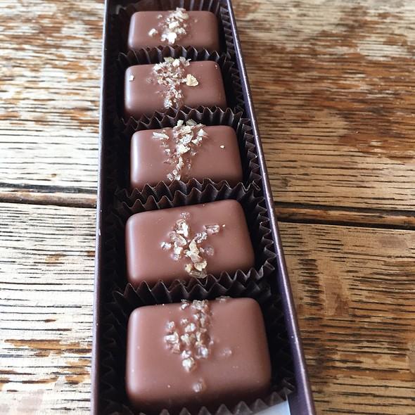 Fran's Chocolates-Smoked Salt Caramels Milk Chocolate @ Scardello