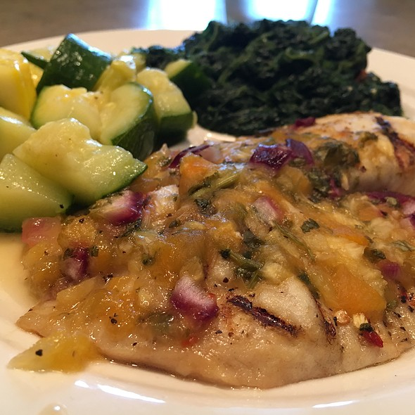 Tilapia With Mango Salsa, Zucchini, & Spinach @ MCL Cafeteria