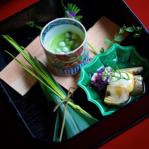 Sushi Rice, Baby Artichoke Agebitashi, Chilled English Pea Soup - Kajitsu, New York, NY