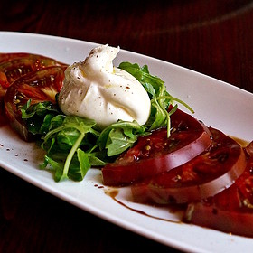 Heirloom tomatoes, arugula, burrata