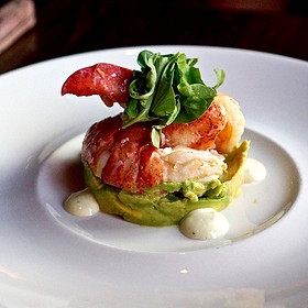 Lobster and avocado cocktail – Sweet Maine lobster, fresh avocado, poached jumbo shrimp, lemon aioli, watercress