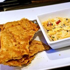 Spicy buttermilk crackers, pimento cheese