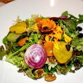 Fresh seasonal greens, beets, cucumbers, pecans, dried cranberries - Madison's, Highlands, NC