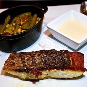 Wild striped bass, summer farm vegetables (corn, tomatoes, asparagus, beans, potato) - Madison's, Highlands, NC