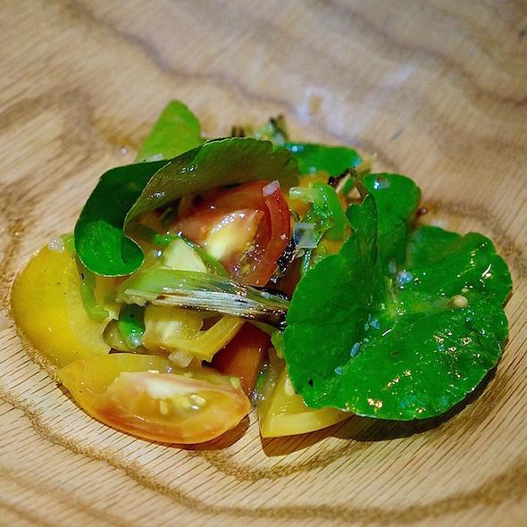 Heirloom tomatoes, pennywort, padron pepper, leeks, oregon vinaigrette