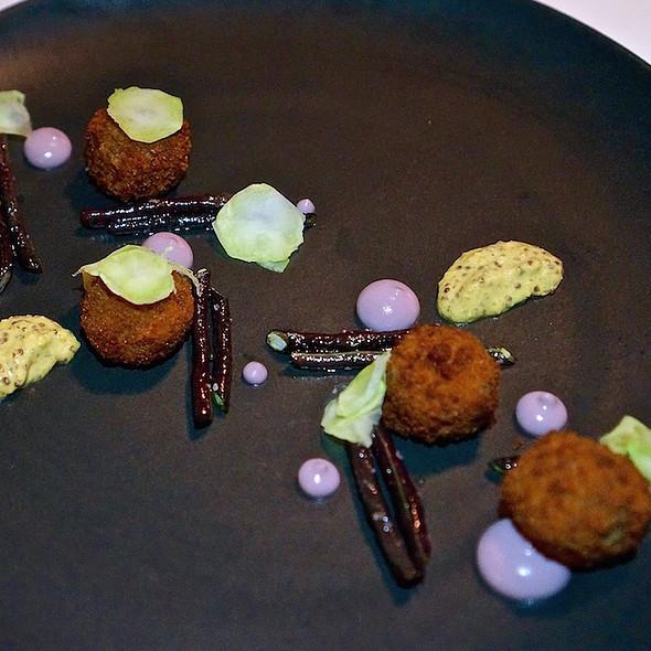 Livermush croquettes, purple cauliflower and broccoli stem, purple long means, Lusty Monk mustard @ Heirloom