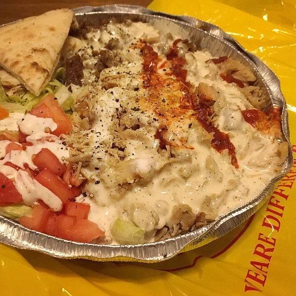 Chicken and Gyros Over Rice @ The Halal Guys