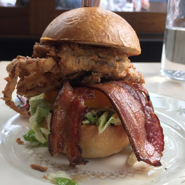 Soft Shell Crab BLT 2 Crispy Crabs, tomato confit, bacon chip, green leaf, pommery aioli in a kaiser roll. @lovenconfection dish. @5Gastronomy - St Jack, Portland, OR
