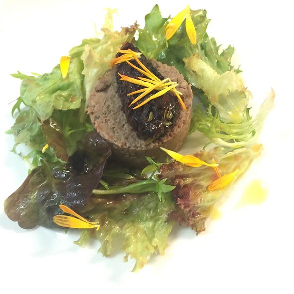 Pigeon Paté With Radiccio Chutney, Salad Leaves With Tomato Dressing