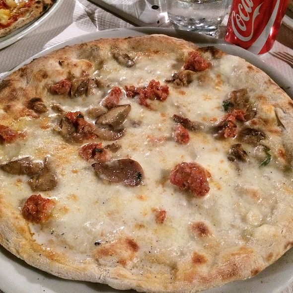 Pizza With Porcini Mushrooms And Calabrian Sausage @ L'arco