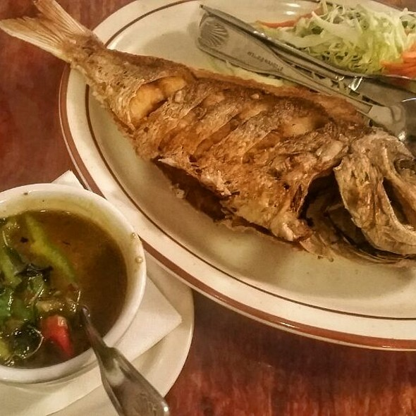 Fried Red Snapper With Basil And Chiles @ Lotus of Siam
