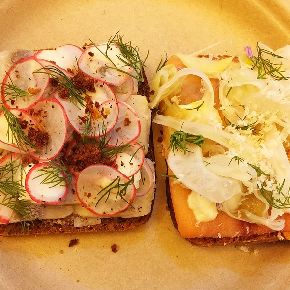 Pickled Herring & Smoked Salmon Sandwiches