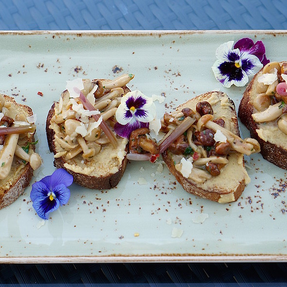 Wild mushroom bruschetta –local foraged mushrooms, parmesan, pickled Michigan ramps