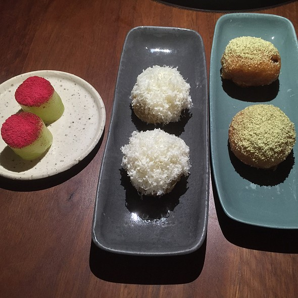 Canapes (Lightly Pickled Cucumber With Rose & Raspberry, Green Tomato & Cheese Gougeres, Pumpkin Scallop)