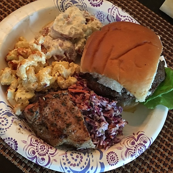 Hamburger, Loaded Baked Potato Salad, Macaroni Salad, Coleslaw, Pork Loin