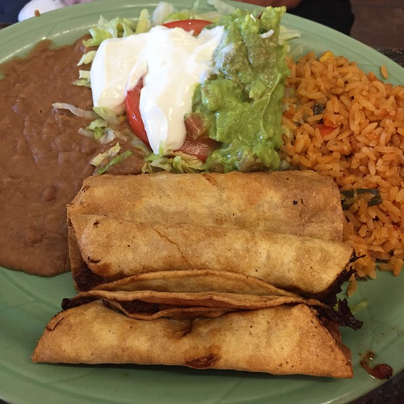 Chicken Flautas, Rice, Beans, And Guacamole