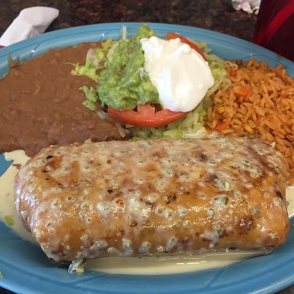 Pork Chimichanga, Refried Beans, Rice, And Guacamole
