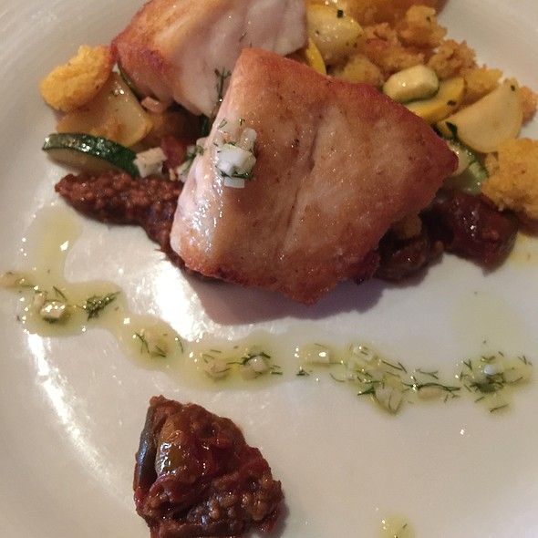 Seared Grouper With Squash, Corn Croutons And Tomato Jam @ The Macintosh