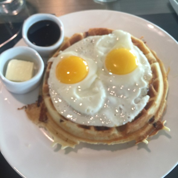 Fried Eggs And Bacon Cheese Waffle - Silver Trumpet Restaurant & Bar, Costa Mesa, CA
