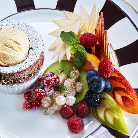 Chocolate Souffle With Vanilla Ice Cream @ Relais Le Jardin