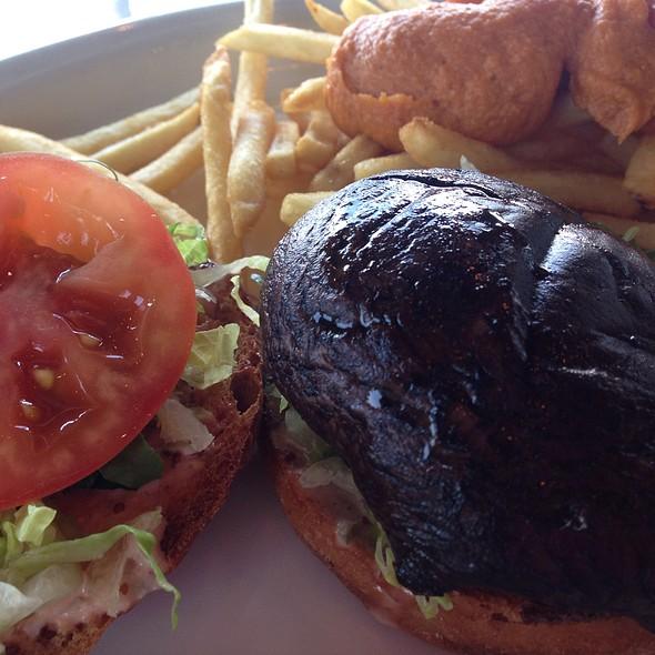 Portobello Burger & Cheese Fries @ My Vegan Gold