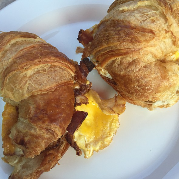 Croissant Egg Sandwich W Cheddar Cheese And Bacon