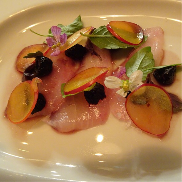 Plum, Kampachi, Black Olives, Basils @ Maude Restaurant