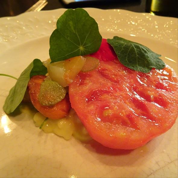 Plum, Heirloom Tomato, Risotto, Okra, Corn @ Maude Restaurant