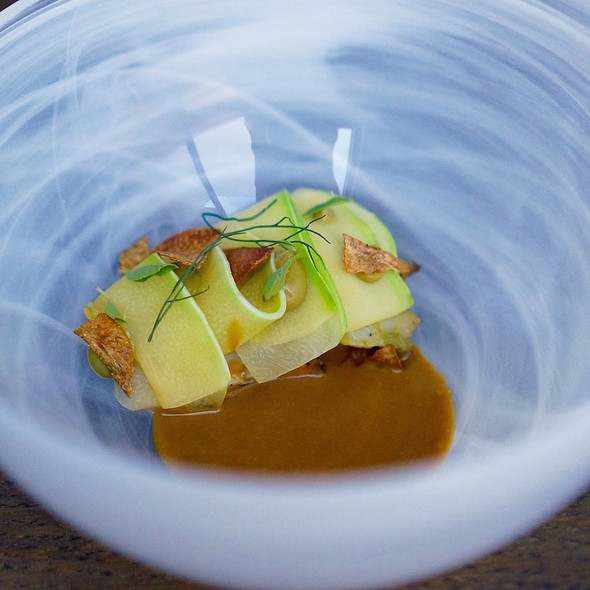 Monterey Bay abalone, liver sauce, green fall squash with basil and pepper