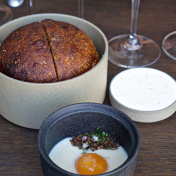 Slow poached egg yolk, smoked dates, alliums, malt, warm levain bread and house-whipped butter - Commis (Oakland), Oakland, CA