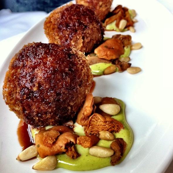 Arrocini, Pinenut Basil Aioli, Pickled Chanterelles @ Atwood