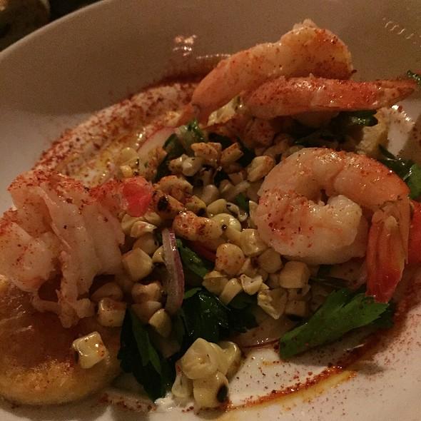 Grilled Shrimp Sweet corn, radish, cilantro, lime @ Bacchanal Fine Wine & Spirits