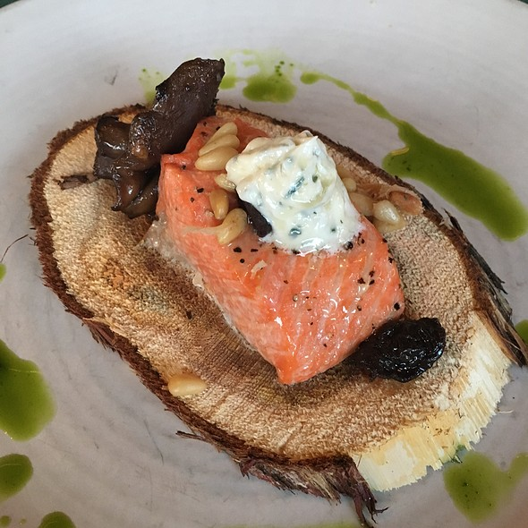 Cedar Planks Steelhead With Roasted Pine Nuts, Blue Foot Mushrooms, Goat Milk Butter And Fried Kelp @ Wolfgang Puck Pizza | Bar