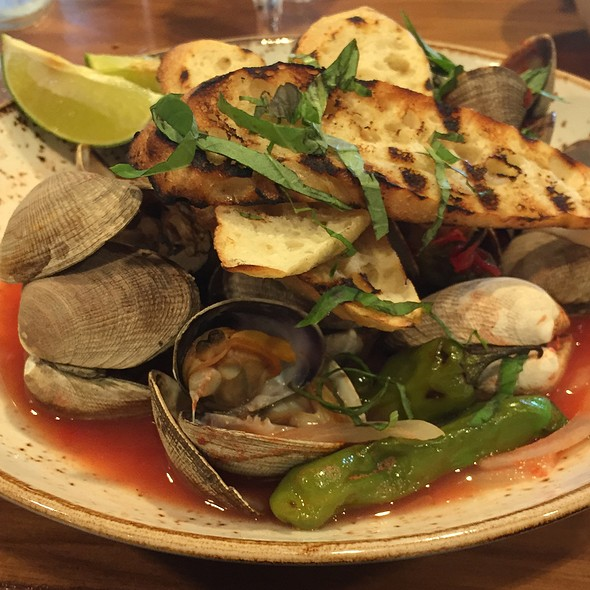 Fire-Roasted Manila Clams With Shishito Peppers @ The Attic at Salish Lodge
